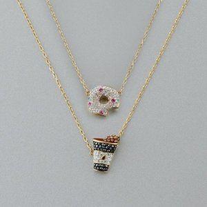 Swarovski NICEST Donut Coffee Necklace Set